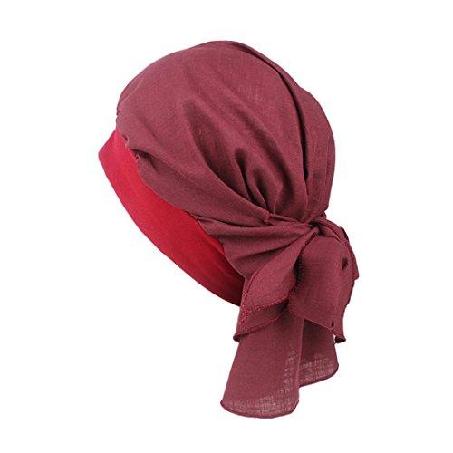 Chapeau rétro, YUYOUG Femmes Coton Lin Bandeau Chapeau Style rétro Bandeau élastique Bandeau de Pirate (Wine)