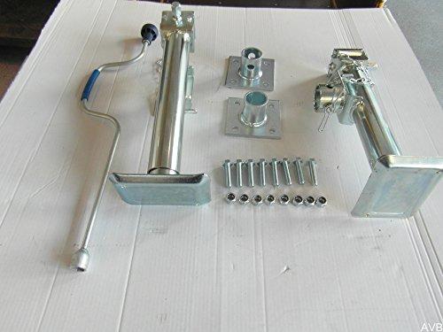 AVB Paket Stützfuß 430 mm verzinkt klappbar m. Flansch u. Kurbel 2 Stück mit Schrauben