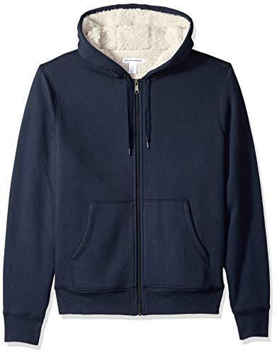 Amazon Essentials Men's Sherpa Lined Full-Zip Hooded Fleece Sweatshirt, Navy, X-Large