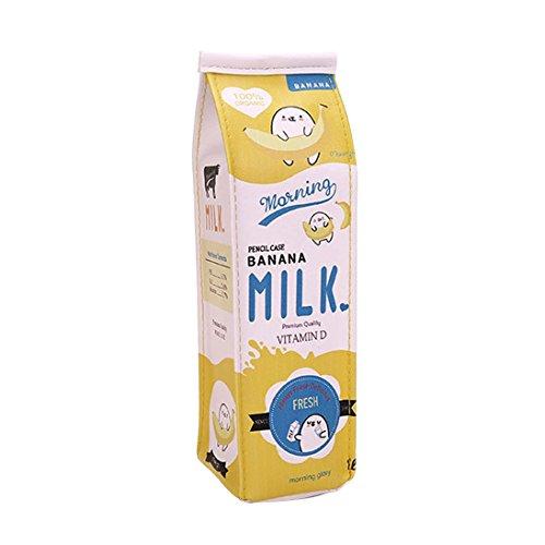 Zhouba Federmappe im Milchkarton-Design, große Kapazität, kreativ, Kunstleder, für Stifte oder Kosmetik Einheitsgröße gelb