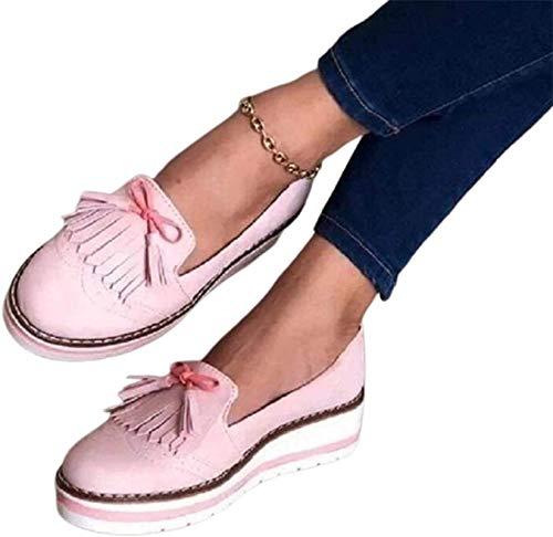 XWCG Sandalias Mujer Plataforma con Cabeza Redonda Cuñas Sandalias Casual Borla Sandalias Cerradas Cómodos Casual Zapatos de Playa,Rosado,38