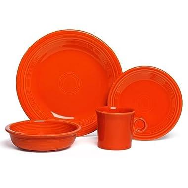 Fiestaware 16- Piece Dinnerware Set   Poppy Orange