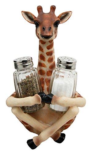 Atlantic Collectibles Safari Madagascar Giraffe Salt Pepper Shakers Holder Figurine 8.25'H