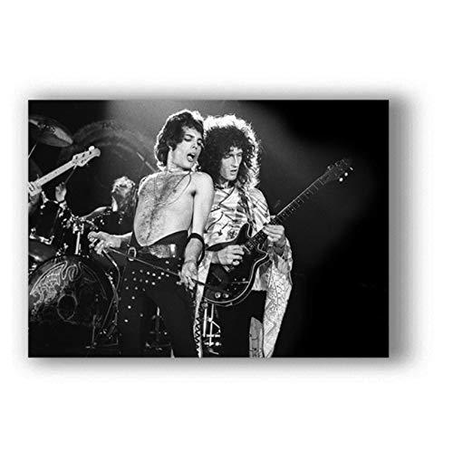 KONGQTE Queen Art Poster Bohemian Rhapsody Poster Sänger Star Bilder für Wohnzimmer Wandposter Ölgemälde Home Decor (60x90cm -24x36 IN No Frame