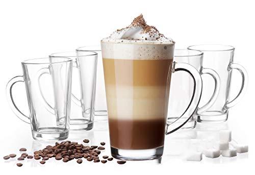 Platinux Latte Macchiato Gläser mit Griff aus Glas Set (6-Teilig) 270ml (max. 350ml) Teegläser Coffee Kaffeegläser