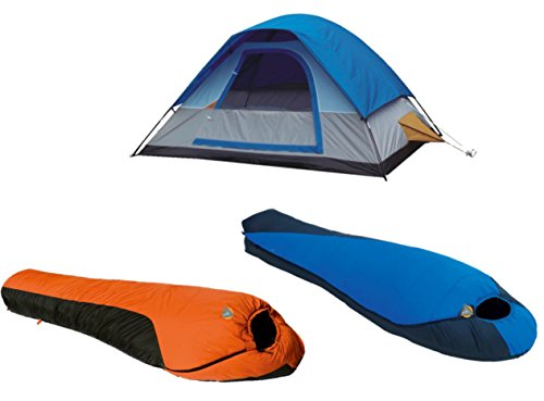 Alpinizmo High Peak USA Pak 0F & Mt. Rainier 20F Schlafsack + 5 Herren Zelt Combo, Blau/Orange, One Size
