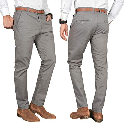 A. Salvarini Herren Designer Business Chino Hose Chinohose Regular Fit AS-095 [AS-095 - Grau - W32 L34]