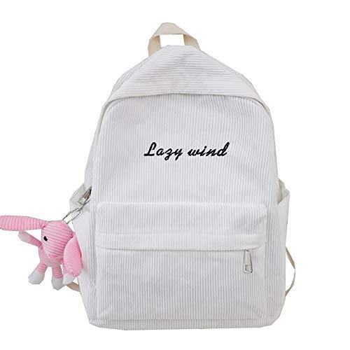Zaino per scuola da donna in velluto a strisce a strisce kawaii zaino da lettera ricamato carino per borsa da studente per donna di moda harajuku per ragazze