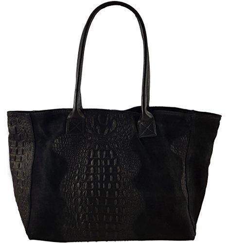 Freyday Damen Henkeltasche Handtasche Kroko Schlangen Strauß Optik versch. Farben 100% Leder (Kroko Schwarz)