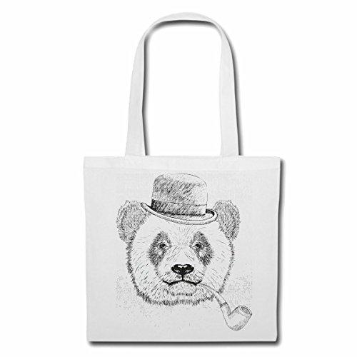 Tasche Umhängetasche Panda Koala Bear MIT Hut Melone UND Pfeife Lifestyle Fashion Street WEAR Hiphop Legendary Salsa Einkaufstasche Schulbeutel Turnbeutel in Weiß