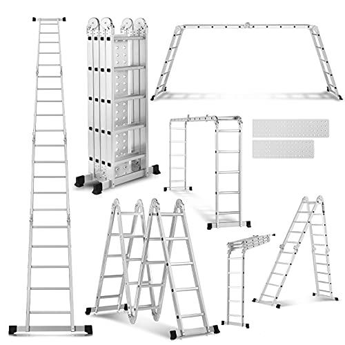 19.5 ft Folding Ladder Heavy Duty Step Tall Ladders with 2 Platform Plates Multipurpose Aluminum Extension Scaffolding Platform, 330 lbs (Sliver)