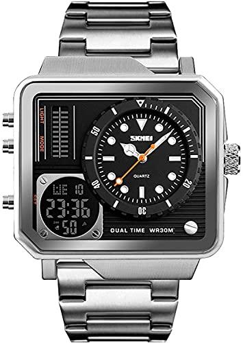 ZFAYFMA Reloj deportivo digital para hombre, multifunción, zona horaria, resistente al agua, militar, cronómetro, LED, cuadrado, gran cara, analógico, de cuarzo, vacaciones, regalo, color plateado