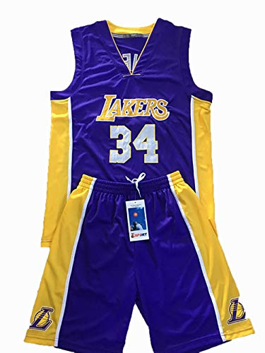 Maglia da Basket per Uomo Lakers James 23 / Kobe 8 24 Maglia da Basket Ricamata O'Neill 34, Canotta da Basket + Pantalone completo-16-XXXL