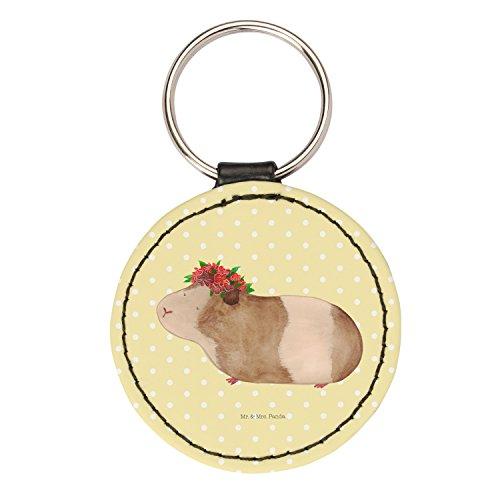 Mr. & Mrs. Panda Taschenanhänger, Anhänger, Rund Schlüsselanhänger Meerschweinchen weise - Farbe Gelb Pastell