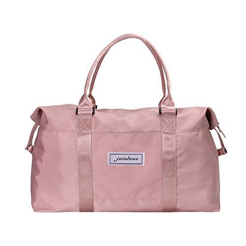 YAOUYYYSN Bolsa de viaje femenina, portátil, ligera, bolsa de almacenamiento de viaje de corta distancia, bolsa de equipaje con gran capacidad, color rosa (puede convertirse en geezogar) pequeña