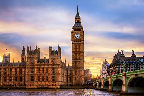 Puzzle 1000 Piezas Famoso Big Ben en Londres, Reino Unido Puzzle 1000 Piezas educa Rompecabezas de Juguete de descompresión Intelectual Colorido Juego de ubicación.50x75cm(20x30inch)
