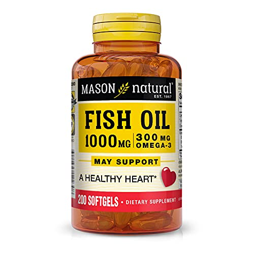 Mason Natural, Omega 3 Fish Oil 1000mg Softgels, Bonus Size 200-Count Bottle, Dietary Supplement Supports Heart, Eye, Brain and Joint Health with Omega 3 Fatty Acid Healthy Fats