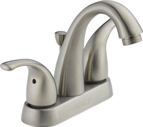 Peerless Tunbridge Centerset Bathroom Faucet Brushed Nickel, Bathroom Sink Faucet, Drain Assembly, Brushed Nickel P299695LF-BN