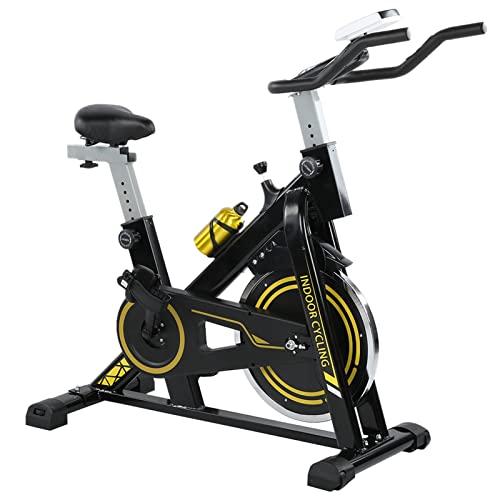 Greensen Bicicleta estática estática de acero de 8 kg con monitor de ritmo cardíaco y monitor LCD, asiento ajustable con manillar, carga de hasta 150 kg