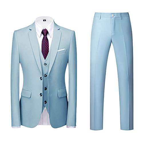 Vestito Elegante Uomo Cerimonia per Sposo Matrimonio Affari Festa Completo 3 Pezzi Abito Uomo Cappotto Giacca Blazer Pantaloni Set Suit (XL,2cielo Blu)