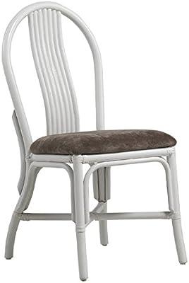 GEESE Silla ratán tapizada, Blanco, 51x48x93 cm