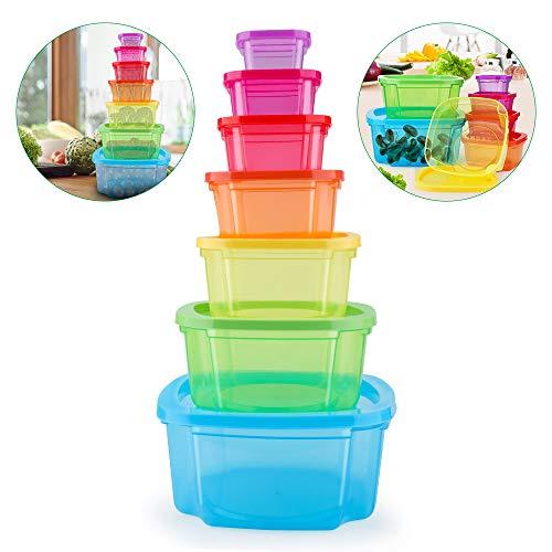 MUXItrade Set di Contenitori per Alimenti Senza BPA, Impilabile 7 Pezzi, Certificato LFGB, Adatto per lavastoviglie, Congelatore, Microonde