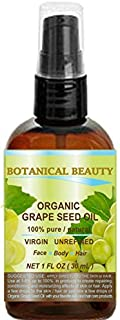 ORGANIC GRAPE SEED Oil. 100% Pure / Natural / Undiluted /Certified Organic Cold Pressed Carrier Oil for Skin, Hair, Massag...