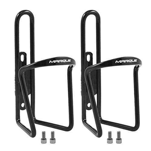 MARQUE Classic Bike Water Bottle Holder  Aluminum Alloy Bicycle Water Bottle Cage for All Types of Bikes Fits Most Road Cycling and Mountain Bike Easy to Install and Use Black 2 Pack