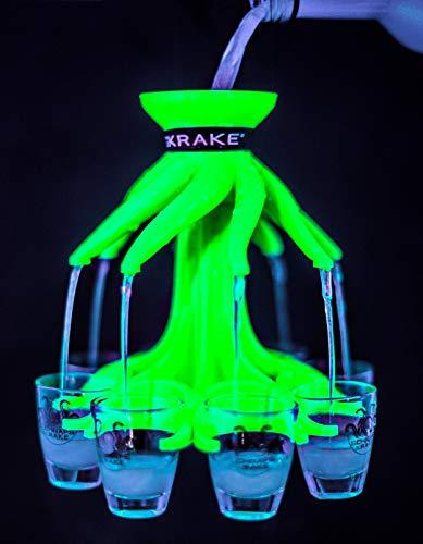 Schnapskrake® - Das Original - Schnapsverteiler für 8 Personen - leuchtet im Schwarzlicht (Neon grün, inkl. Gläser)