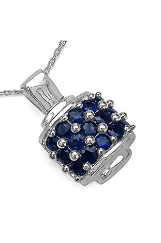 Silvancé - Ciondolo da Donna argento sterling 925 placcati al rodio vero Zaffiro blu - P2063BSap