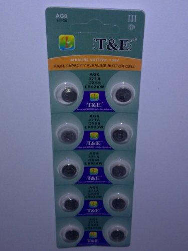 10x AG 6 Uhrenbatterie 370 371 920 921 für Armbanduhr Knopfzelle