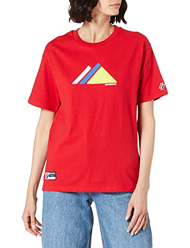 Superdry Mountain Sport tee Camiseta, Risk Red, L para Mujer