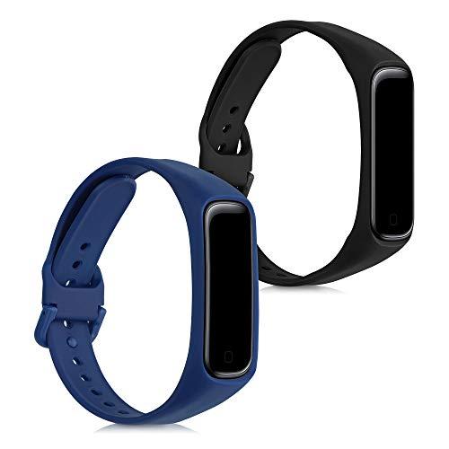 kwmobile 2X Pulsera Compatible con Samsung Galaxy Fit 2 - Brazalete de Silicona Negro/Azul Oscuro sin Fitness Tracker