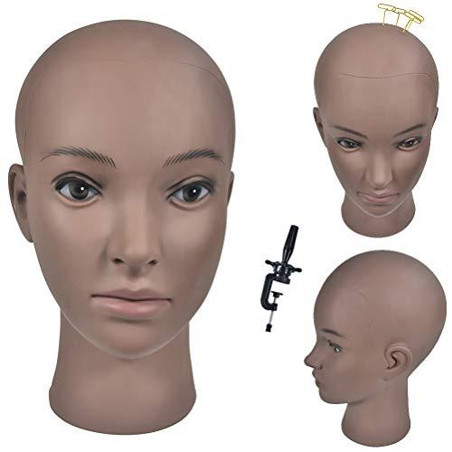 mâle Professional Cosmétologie Shaven Tête Tête de mannequin pour barbier affichant des Perruques/lunettes/Cheveux avec gratuit Clamp