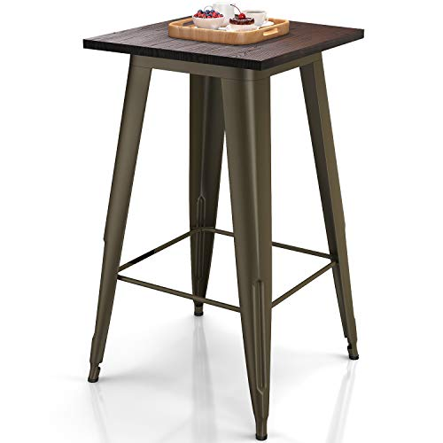 "VIPEK Metal Bar Table with Solid Wood Top 23.6"" Square 41.3"" High Heavy-Duty Table for Bistro Bar Cafe Restaurant Home Kitchen Dining Room Table Patio Table Farmhouse Industrial Style, Gun Metal Color"