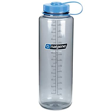 Nalgene 48 Ounces Grey Silo Everyday Wide Mouth Hydration Bottle with Blue Cap