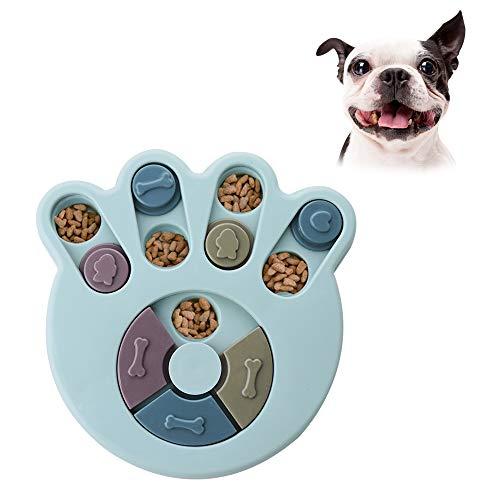 Andiker Rompecabezas Redondo para Perro, Juguete Interactivo Duradero para Perro, Juegos de Cerebro de Perro, Mejora de IQ (Azul)