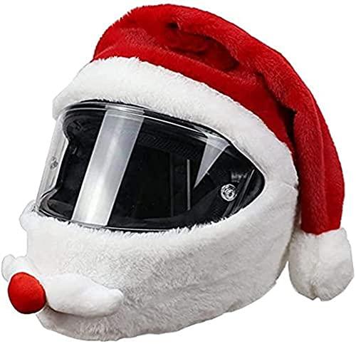 Gorro de Navidad de Papá Noel, Gorro de Navidad para Casco de Motocicleta, Funda de Casco Personalizada Máscara de Protección Divertida, para Accesorios de Motocicleta, Paseos Divertidos y Regalos (1)