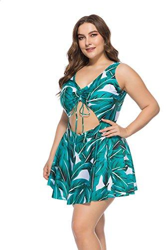 ESPRLIA Women's Plus Size Two Pieces Tankini Bikini Set Swimsuits (Green, 2XL)