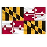 EKEV 3x5 Foot Maryland State Flag - Maryland MD Flags with Brass Grommets & Canvas Header & Double Stitched - Vibrant Colors and UV Fade Resistant