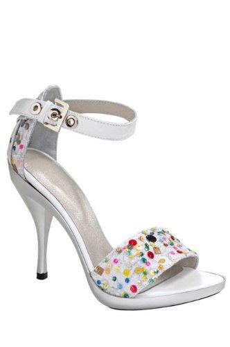 Heine Damen-Schuhe Sandalette mit Pailletten Weiß