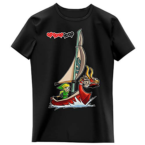 Okiwoki T-Shirt Enfant Fille Noir Parodie Zelda - Cartoon Link - Traduction internationnal (T-Shirt Enfant de qualité Premium de Taille 9-10 Ans - imprimé en France)