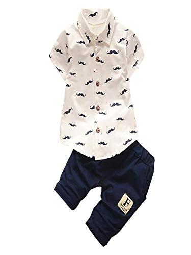 ZHANSANFM Baby Jungen Kleidung Sets 2pcs Cartoon Schnurrbart Drucken Button Down Poloshirt Tops + Hosen Herbst Suit Outfits Mode Hochzeit Festlich Anzug Kleinkind Babykleidung 12-18Monat Weiß