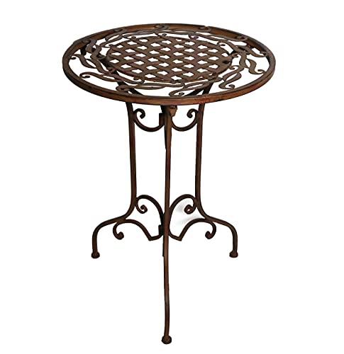 Ziegler Metalltisch Beistelltisch Blumenhocker Gartentisch Garten Deko Terrasse Tisch Metall Eisen rund WK071291