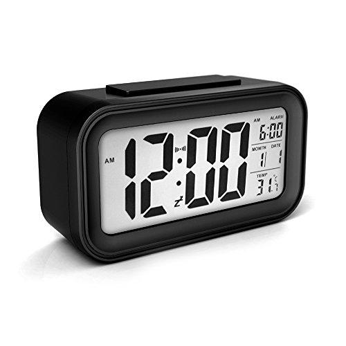 Alarm Clock Sensor Touch Alarm Clock Digital For Kids Technology Light On Backlight Black