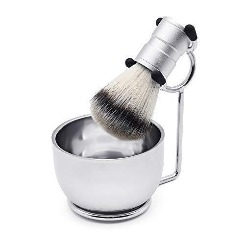 Ensemble de rasage pour homme en acier inoxydable avec support pour rasoir et blaireau, bol à savon, tasse en poils de blaireau, brosse à barbe et kit de rasage humide – 3 pièces (argent)