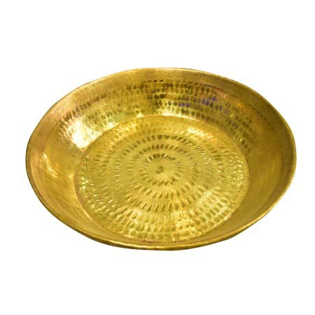 PLANET 007 Indian Traditional Brass Parat Parant Pie Pan Dough Maker Dough Mixer Dough Kneader 12 inches