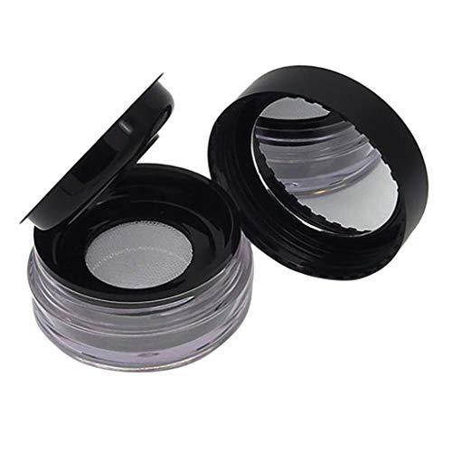 Hellery Pots Cosmétiques Vide en Plastique Rond Transparent, Contenants pour Crème Paillette Maquillage Poudre - Noir