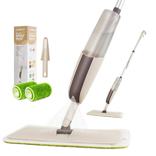 CXhome Balai pulvérisateur,Balai lave sol avec vaporisateur,Microfibre Balai serpillère pour nettoyage du sol avec 2 serpillères interchangeables et réservoir,Spray Mop pour la maison(Gris-Vert)