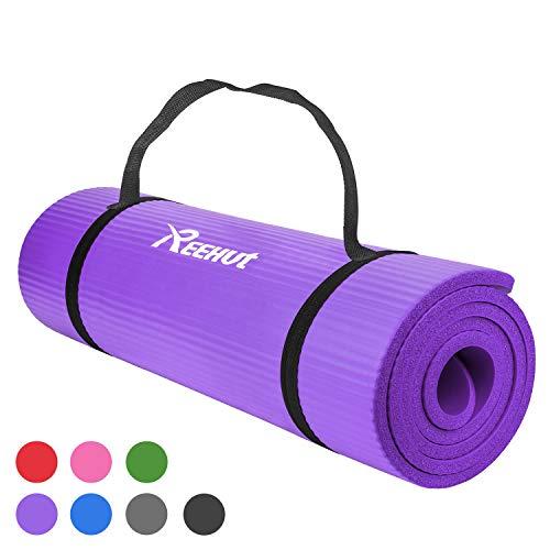 REEHUT - Esterilla de ejercicio NBR para yoga, 12 mm, extra